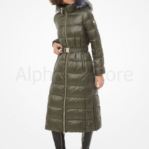 NWT Michael Kors Faux Fur-Trim Quilted Nylon Puffe